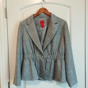 V Christina gray peplum blazer